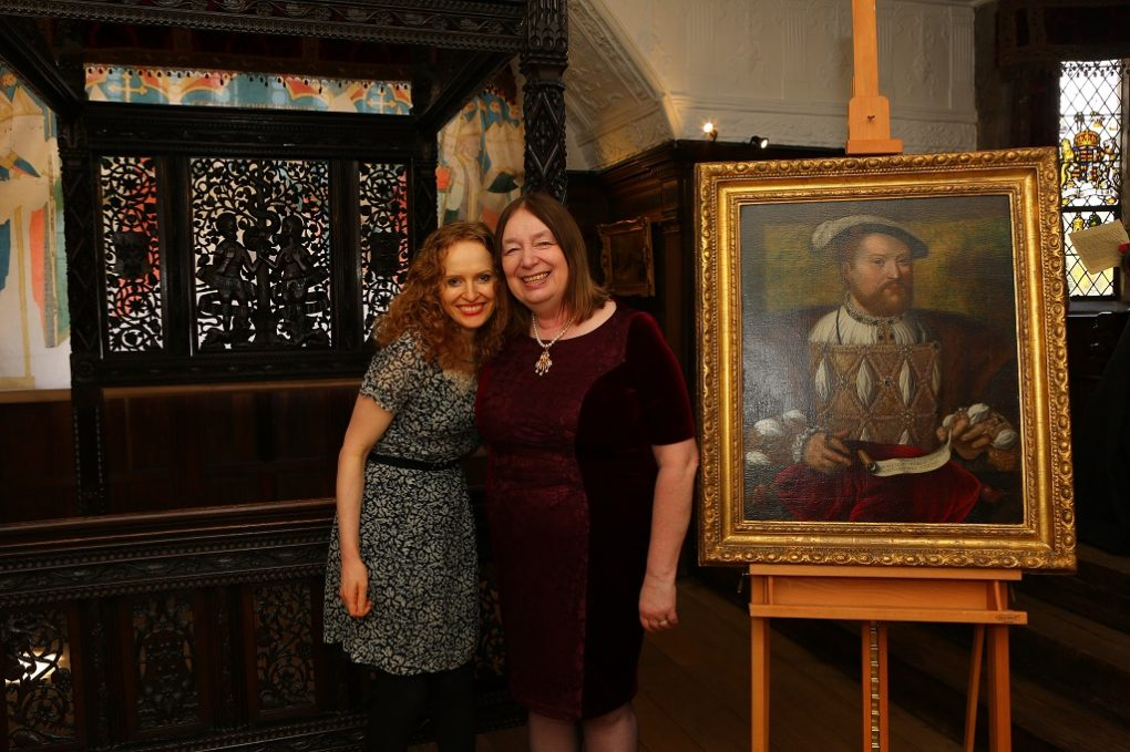 Kate Williams & Alison Weir at Tudor portrait and bed unveiling
